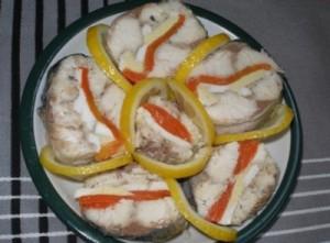 рулет  из скумбрии с желатином